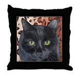 Black Cat on a Leopard Rug Throw Pillow