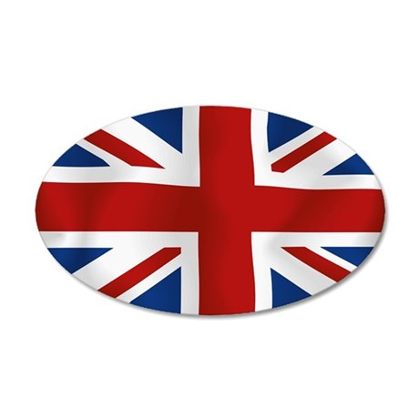 Union Jack flying flag 38.5 x 24.5 Oval Wall Peel