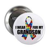 "Autism Ribbon for My Grandson - 2.25"" Button"