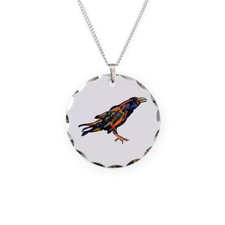 Pensive Raven Necklace Circle Charm