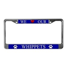 Blue We Love Our Whippets License Plate Frame