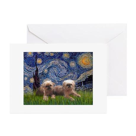 Starry / 2 Affenpinschers Greeting Cards (Pk of 20