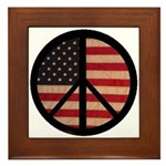 Peace w/ Flag of FREEDOM Framed Tile