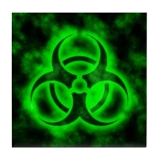 Green Glow Biohazard Tile Coaster