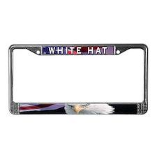 White Hat License Plate Frame