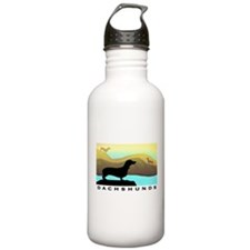 dachshunds by the sea Sports Water Bottle