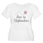 Due In September Women's Plus Size Scoop Neck T-Sh