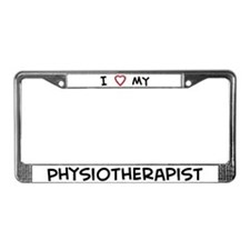 I Love Physiotherapist License Plate Frame
