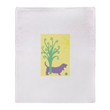 Basset Hound Tree & Ball Throw Blanket