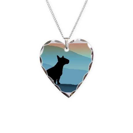Bull Terrier Blue Mts. Necklace Heart Charm