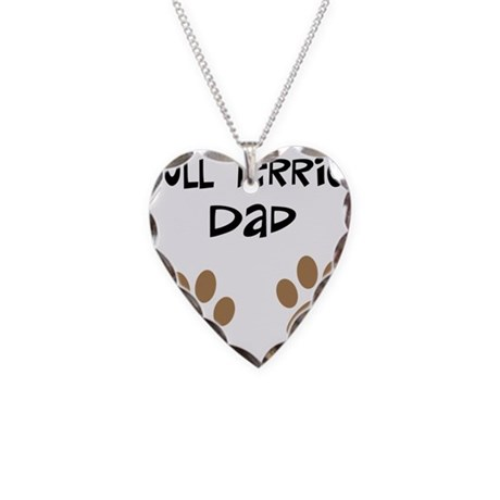 Big Paws Bull Terrier Dad Necklace Heart Charm