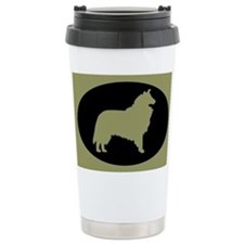 Sage & Black Collie Ceramic Travel Mug
