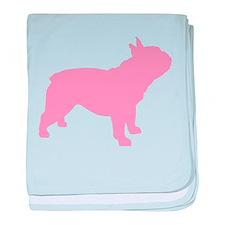 Pink French Bulldog baby blanket