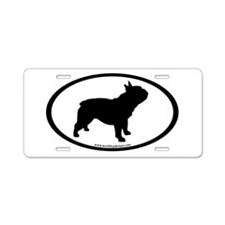 French Bulldog Oval Aluminum License Plate