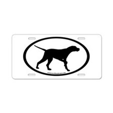 Pointer Dog Oval Aluminum License Plate