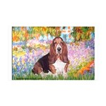 Basset in the Garden 35x21 Wall Decal