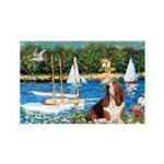Sailboats & Basset 35x21 Wall Decal