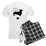 welsh corgi heart Men's Light Pajamas