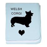 welsh corgi heart baby blanket