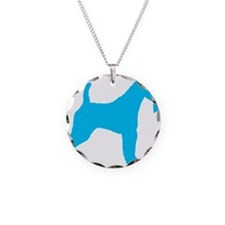 Blue Wire Fox Terrier Necklace