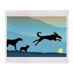 Dogs Chasing Ball Throw Blanket