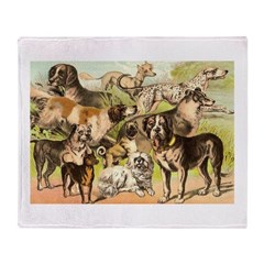 Dog Group From Antique Art Throw Blanket