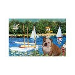 Sailboats /English Bulldog 35x21 Wall Decal