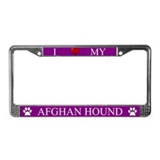 Purple I Love My Afghan Hound License Plate Frame
