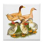 Buff Duck Family Tile Coaster