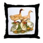Buff Duck Family Throw Pillow
