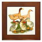 Buff Duck Family Framed Tile