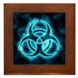 Blue-White Glow Biohazard Framed Tile