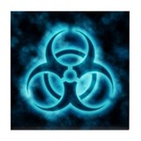 Blue-White Glow Biohazard Tile Coaster