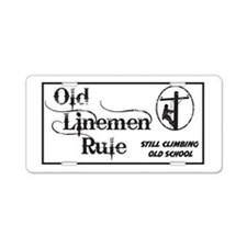 Old Linemen Aluminum License Plate