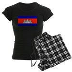 Cambodia Blank Flag Women's Dark Pajamas