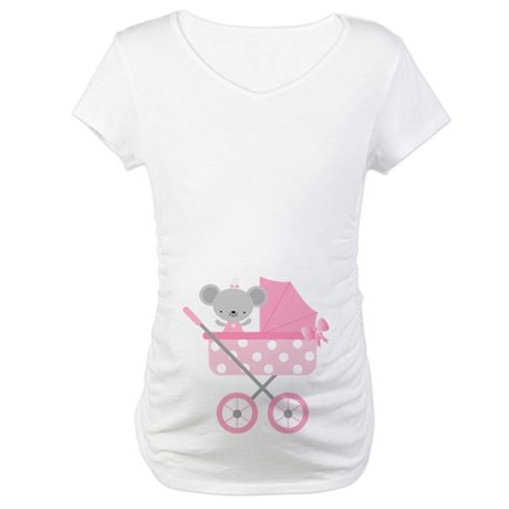 Pink Mouse Baby Announcement Maternity T-Shirt