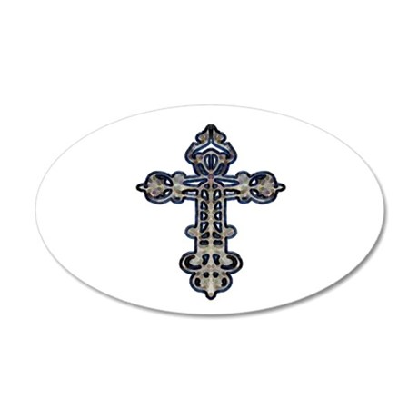 Ornate Cross 38.5 x 24.5 Oval Wall Peel