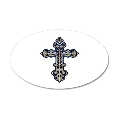 Ornate Cross 22x14 Oval Wall Peel