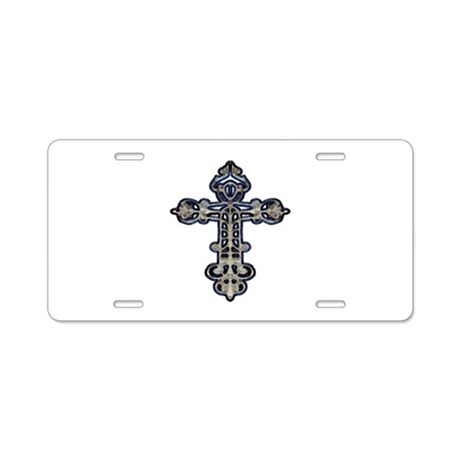 Ornate Cross Aluminum License Plate