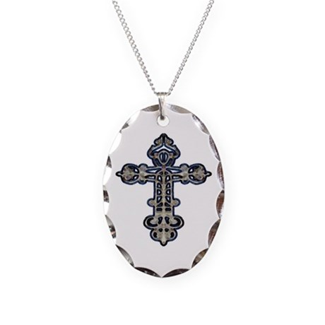 Ornate Cross Necklace Oval Charm