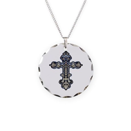 Ornate Cross Necklace Circle Charm