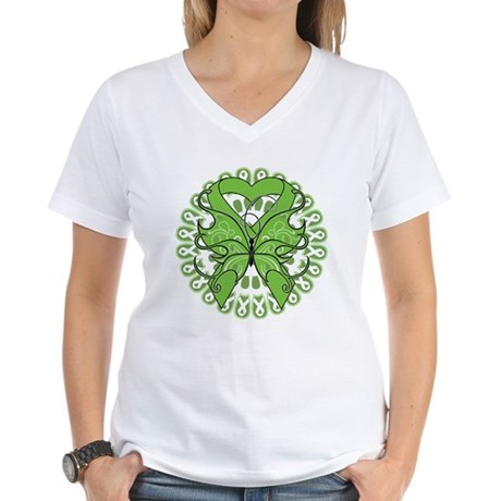 Non-Hodgkins Butterfly Women's V-Neck T-Shirt