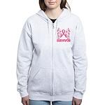 Breast Cancer Survivor Whimsy Women's Zip Hoodie