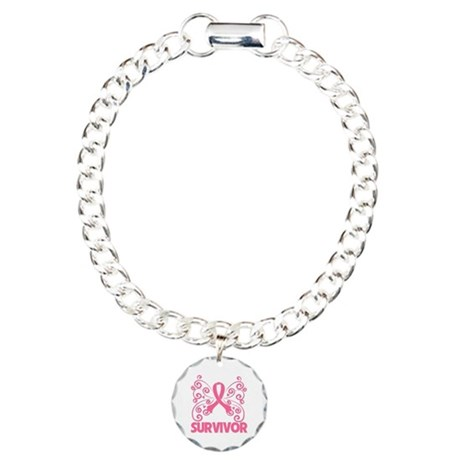 Breast Cancer Survivor Whimsy Charm Bracelet, One