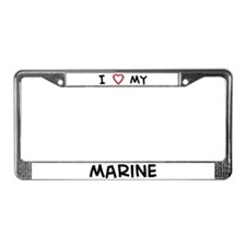 I Love Marine License Plate Frame