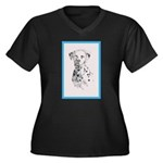Dalmatian Women's Plus Size V-Neck Dark T-Shirt