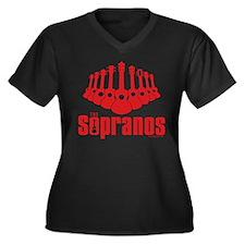 Sopranos Ukuleles Women's Plus Size V-Neck Dark T-