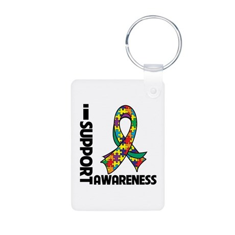 I Support Autism Awareness Aluminum Photo Keychain