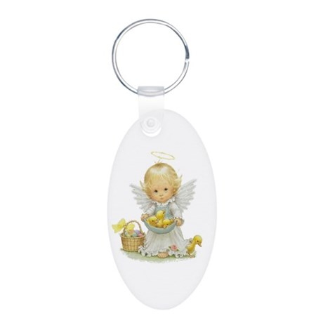 Easter Angel Aluminum Oval Keychain