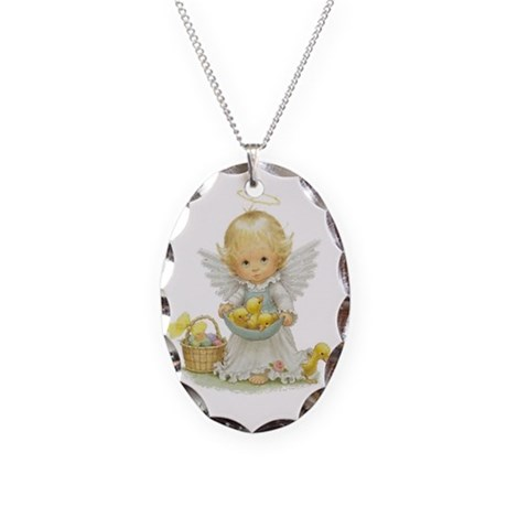 Easter Angel Necklace Oval Charm